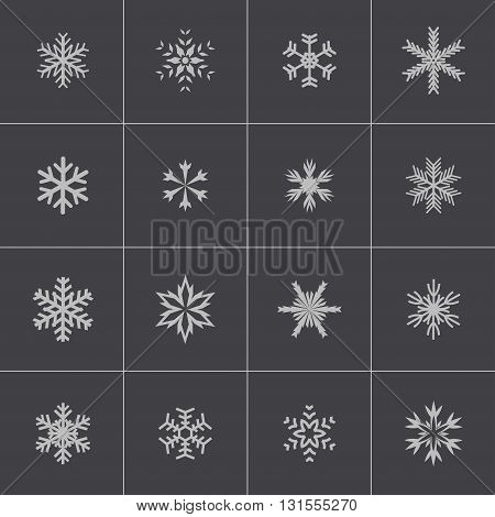 Vector black snowflake icons set on grey background