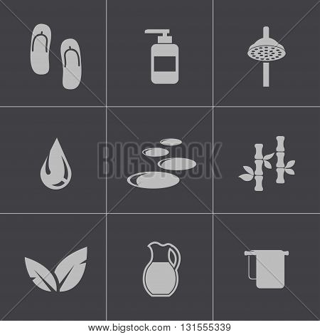 Vector black spa icons set on grey background