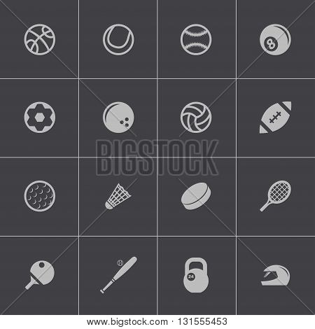 Vector black sport icons set on grey background