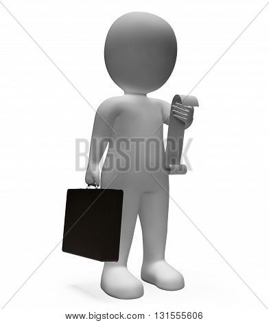 Receipt Businessman Means To Do List And Bills 3D Rendering