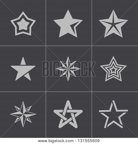 Vector black stars icons set on grey background