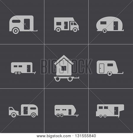 Vector black trailer icons set on grey background
