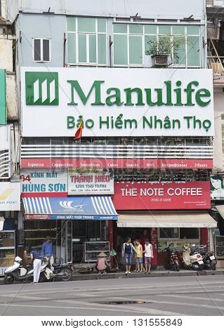 Hanoi, Vietnam - May 21, 2016: A life insurance agency of Manulife in Hanoi capital. Manulife insurance is a company of Canadian Manulife financial service provider, headquarters in Toronto, Canada.