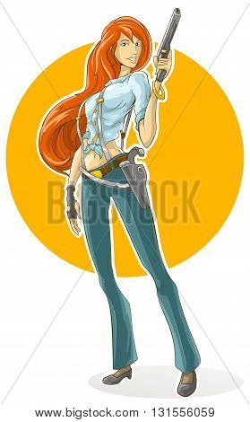 A vector illustration of pretty detective girl with gun