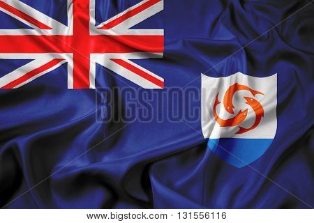 Waving Flag of Anguilla, with beautiful satin background