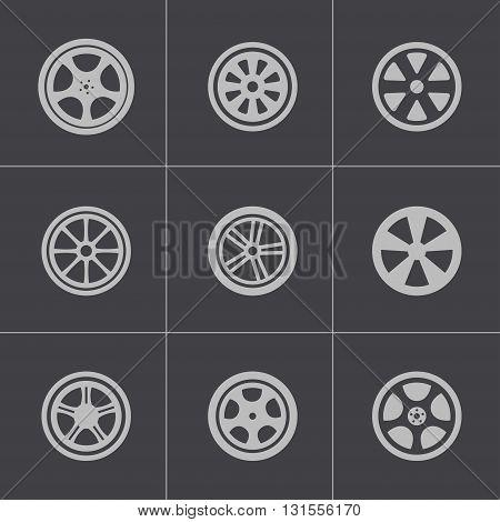 Vector black wheel disks icons set on grey background