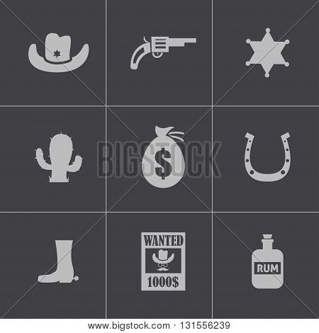 Vector black wild west icons set on grey background