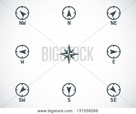 Vector black wind rose icons set on white background