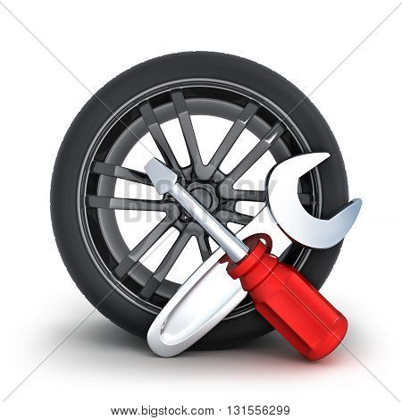 Icon repair wheel on a white background (done in 3d)