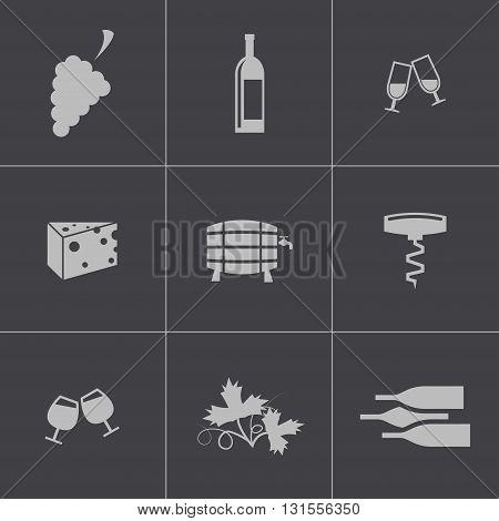 Vector black wine icons set on grey background
