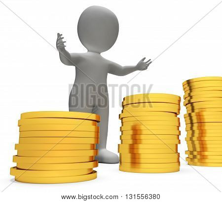 Savings Character Shows Man Finances And Cash 3D Rendering