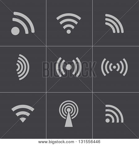 Vectvor black wireless icons set on grey background