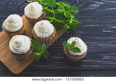 Homemade Sweet Mint Cupcake With Cream