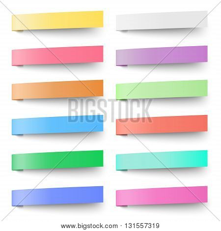 Set of pastel color sticky notes stickers isolated on white background