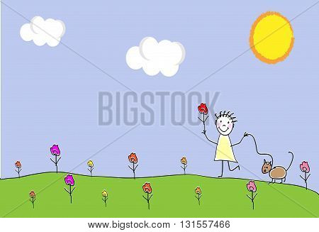 Girl playing outdoors with cat. Playing together outdoors in park. Doodle hand drawn sketch scribble. Children background for cards books posters. Vector illustration