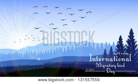 Vector illustration of Birds migratory day with mountains and palm tree on sunrise background