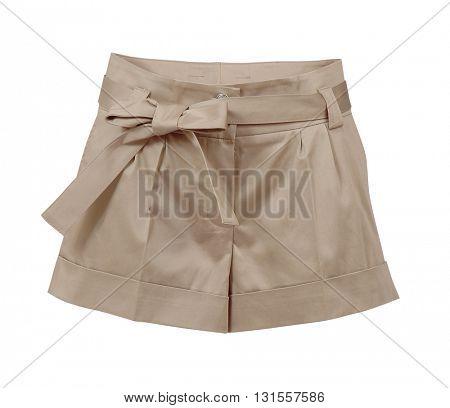 beige shorts isolated on white background