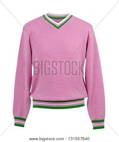 pink sweater isolated on white background