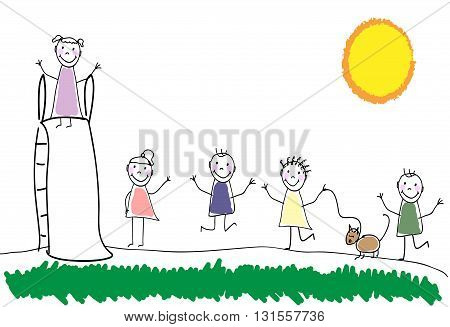 Children group of kids. Playing together outdoors. Playground for children. Doodle hand drawn sketch scribble. Children background for cards books posters. Vector illustration