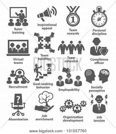 Business management icons on white. Pack 21.