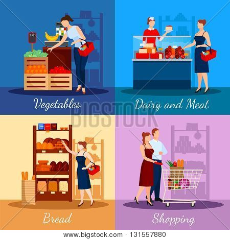 Shopping departments in supermarket with bread dairy and meat products vegetables and fruits isolated vector illustration