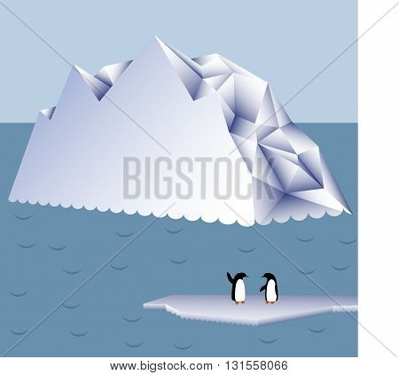 Penguins on an ice floe in the background of icebergs. Vector illustration