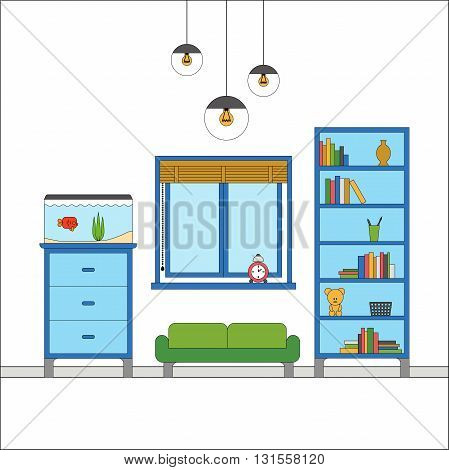 Modern flat design of Interior of a living room with chest of drawers, rack, aquarium, sofa, vintage lighting decor. Colorful vector illustration