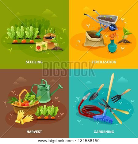 Gardening 2x2 design concept set of seedling and harvest compositions with farm tools for formation of garden beds fertilization and watering vector illustration