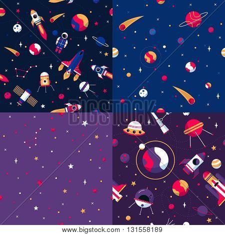 Space seamless patterns samples 4 flat icons square composition with colorful spacecrafts and planets abstract vector illustration