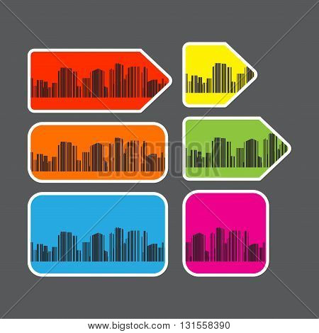 Vector set of labels of various shapes and different colors with a silhouette of a city with bar code
