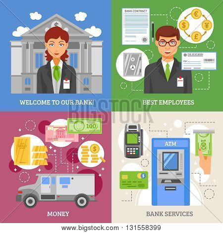 Bank services 2x2 design concept with  terminal for plastic card armored truck for money transportation and employees flat vector illustration
