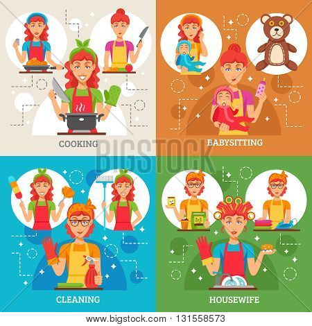 Housewife 2x2 design concept set of women in apron in kitchen with rubber gloves and broom with baby and nipple in hands isolated vector illustration