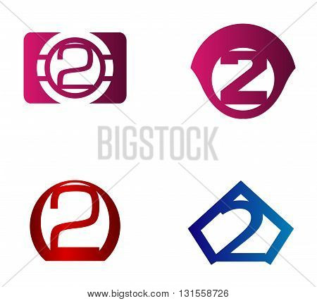 Vector sign number 2. Number 2  logo icon design template elements