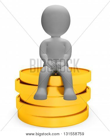 Coins Money Means Treasure Saver And Finances 3D Rendering