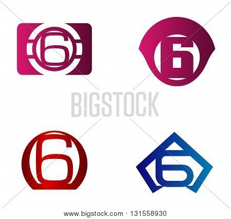 Vector sign number 6. number 6 logo icon design template elements