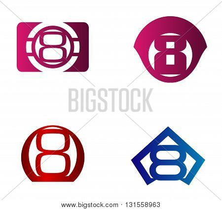 Vector sign number 8. Nuber 8 logo icon design template elements