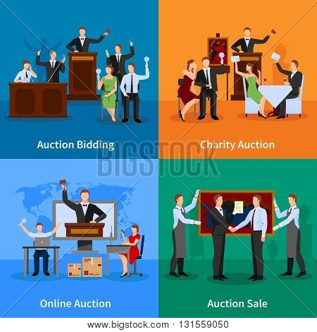 Charity auction online bidding and sale to highest bidder 4 flat icons composition abstract isolated vector illustration