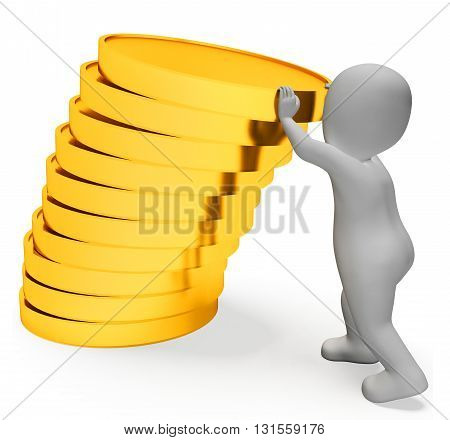 Finance Character Represents Saver Earnings And Render 3D Rendering
