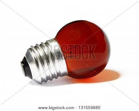 small red light bulb with shadow on white background