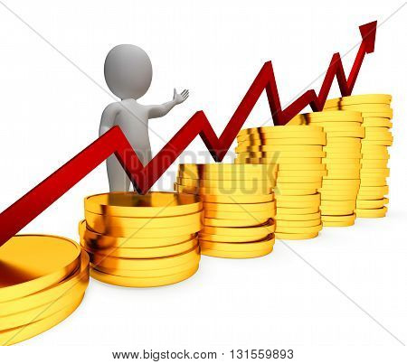 Coins Increase Represents Business Person And Advance 3D Rendering