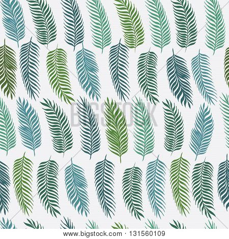 Hand drawn palm leaves on white background. Fashion seamless pattern. Tropical vector illustration.