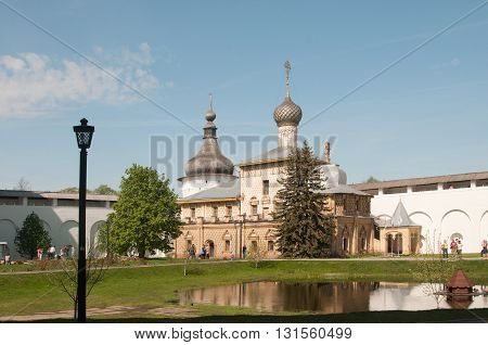 ROSTOV RUSSIA MAY 07. 2016: - Rostov the Great in spring view to the kremlin Odigitria Church. The Golden Ring of Russia