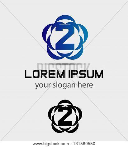 Number three 2 logo symbol design template elements
