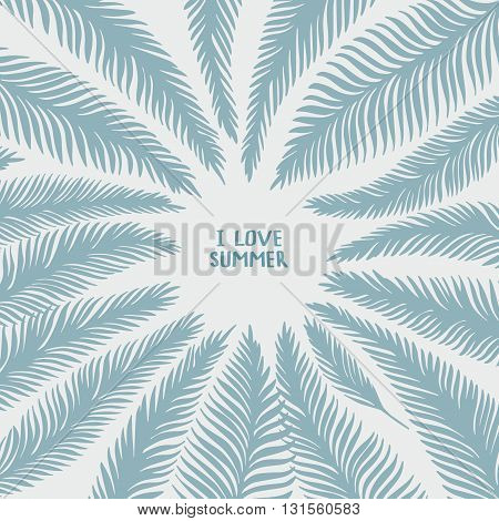 Hand drawn frame of palm leaves on white background. Fashion tropical vector illustration.