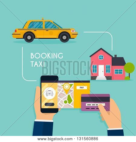 Hand Holding Mobile Smart Phone With Mobile App Search Taxi. Booking Online Taxi Responsive Web Desi