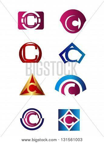 Set of letter C logo Branding Identity Corporate vector symbol design template