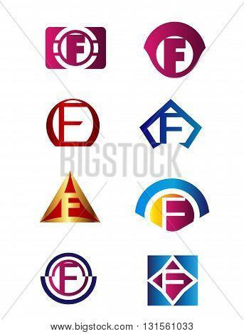Set of letter F logo Branding Identity Corporate vector symbol design template