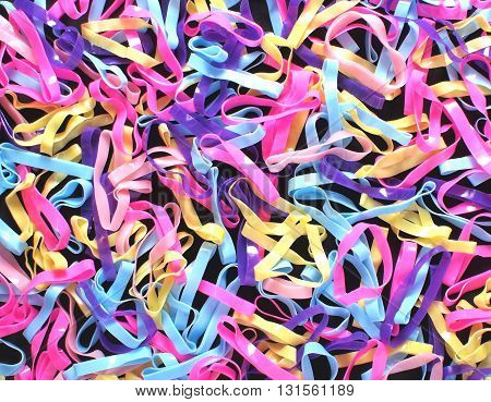 abstract colorful vivid plastic rubber bands full frame background
