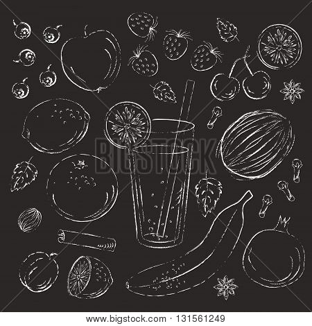 Set of hand drawn fruit. Chalk grungy sketch on blackboard. Apple plum banana lemon pomegranate cherry orange strawberry blackberry spices and a glass with straw.