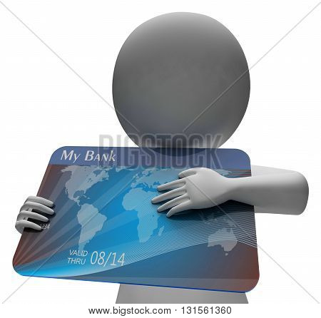 Debit Card Indicates Buying Banking And Indebtedness 3D Rendering